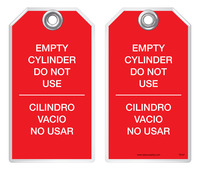 Bilingual Safety Tag - Empty Cylinder, Do Not Use, Cilindro Vacio, No Usar