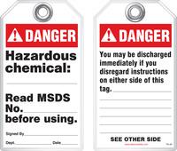 Safety Tag - Danger, Hazardous Chemical (Ansi - Dismissal)