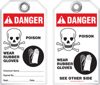 Warning Tag - Danger, Poison, Wear Rubber Gloves (Ansi)