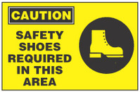 Caution Sign, Safety Shoes Required In This Area (With Symbol, Yellow Background)