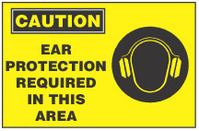 Caution Sign, Ear Protection Requried In This Area (With Symbol, Yellow Background)