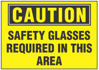 Caution Sign, Safety Glasses Required In This Area (Yellow Background)