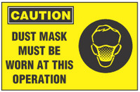 Caution Sign, Dust Mask Must Be Worn At This Operation (With Symbol, Yellow Background)