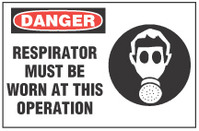 Danger Sign, Respirator Must Be Worn At This Operation (With Symbol)