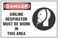 Danger Sign, Airline Respirator Must Be Worn In This Work Area (With Symbol)