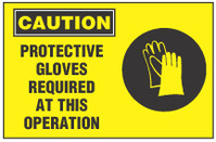 Caution Sign, Protective Gloves Required At This Operation (With Symbol, Yellow Background)