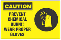 Caution Sign, Prevent Chemical Burn! Wear Proper Gloves (With Symbol, Yellow Background)