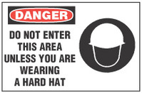 Danger Sign, Do Not Enter This Area Unless You Are Wearing A Hard Hat (With Symbol)