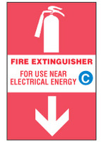 Fire Extinguisher Sign, For Use Near Electrical Energy