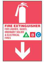 Fire Extinguisher Sign, For Liquids, Gases, Ordinary Solids and Electrical Fires