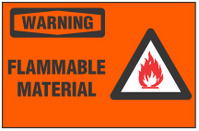 Warning Sign, Flammable Material (With Symbol, Orange Background)