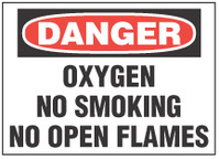 Danger Sign, Oxygen, No Smoking, No Open Flames