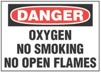 Danger Sign, Oxygen, No Smoking, No Open Flames