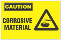 Caution Sign, Corrosive Material (With Symbol)