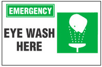 Emergency Sign, Eye Wash Here (With Symbol)
