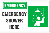 Emergency Sign, Emergency Shower Here (With Symbol)