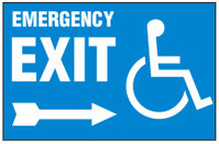 Handicapped Sign,Emergency Exit (Right Arrow, With Symbol)