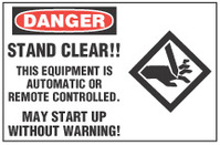Danger Sign, Stand Clear! This Equipment Is Automatic Or Remore Controlled. May Start Up Without Warning! (With Symbol)