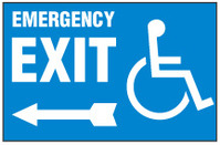 Handicapped Sign,Emergency Exit (Left Arrow, Blue Background)
