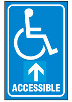 Handicapped Sign,Accessible (Straight Ahead Arrow, With Symbol)