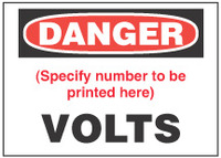 Danger Sign, (Specify Number Of) Volts
