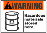 Warning Sign, Hazardous Materials Stored Here (With Symbol)