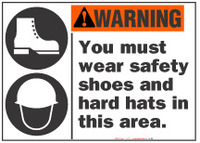 Warning Sign,  You Must Wear Safety Shoes And Hard Hats In This Area (With Symbol)