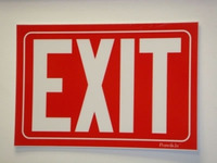 Flexible Glow-in-the-Dark Red Exit Sign with Adhesive Back