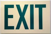 Rigid Glow-In-The-Dark Exit Sign with Reflective Green Letters