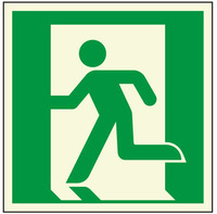Aluminum Glow-in-the-Dark Emergency EXIT Symbol, Man Running Left, with Adhesive Back