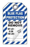 Blue Flag Do Not Remove Peel and Stick Safety Tag