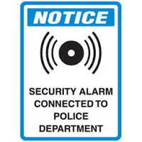 Notice Security Alarm Connected To Police Department