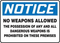 Notice No Weapons Allowed