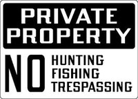 Private Property No Hunting, Fishing, Trespassing