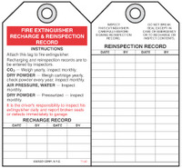 Fire Prevention Safety Tag - Fire Extinguisher Recharge And Reinspection Record (Driver)
