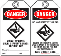 Safety Tag - Danger, Do Not Operate Unless Safety Guards Are In Place (Rollers)