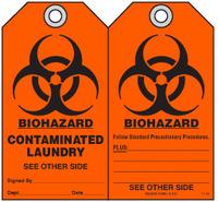 Safety Tag - Biohazard, Contaminated Laundry