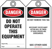 Lockout Safety Tag - Danger, Do Not Operate This Equipment (Disciplinary Action)