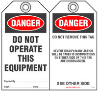 Lockout Safety Tag - Danger, Do Not Operate This Equipment