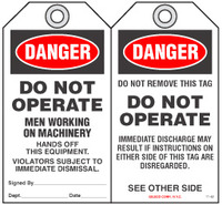 Maintenance Safety Tag - Danger, Men Working On Machinery, Hands Off This Equipment