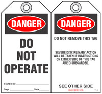 Lockout Safety Tag - Danger, Do Not Operate (Disciplinary Action)