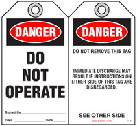 Lockout Safety Tag - Danger, Do Not Operate (Dismissal)