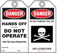 Lockout Safety Tag - Danger, Hands Off, Do Not Operate