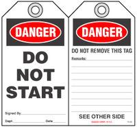 Safety Tag - Danger, Do Not Start