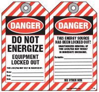 Lockout Safety Tag - Danger, Do Not Energize, Equipment Locked Out