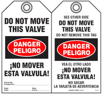Bilingual Safety Tag - Danger, Peligro, Do Not Move This Valve, No Mover Esta Valvula (English/Spanish)
