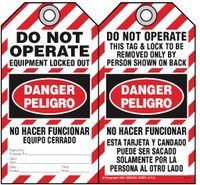 Bilingual Safety Tag - Danger, Peligro, Do Not Operate, Equipment Locked Out By, No Hacer Funcionar (English/Spanish)