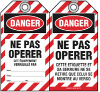Bilingual Safety Tag - Danger, Ne Pas Operer, Cet, Equipement Verrouille Par (French)