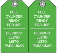 Maintenance Safety Tag - Bilingual Safety Tag, Full Cylinder, Ready For Use, Cilindro Lleno Listo Para Usar