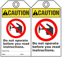 Warning Tag - Caution, Do Not Operate Before You Read Instructions (Ansi)